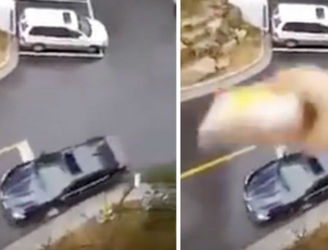 Woman Throws Husband's Lunch In To His Car From Balcony