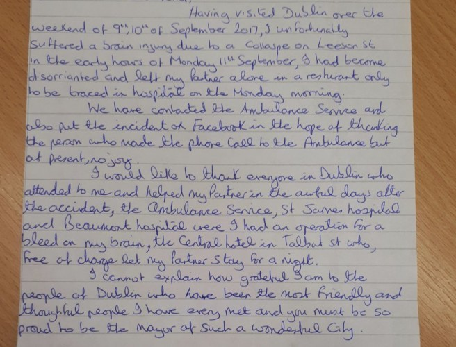 "Sick Tourist Pens Letter Of Thanks To ""Wonderful"" Dubliners"