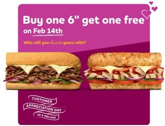 Here's How You Can Get A Free Subway This Valentine's Day