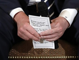 "Trump's Notes For Meeting On School Shootings Remind Him To Say ""I Hear You"""