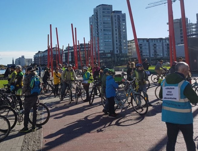 Cyclists Take To The Streets Demanding Progress On Liffey Cycle Route