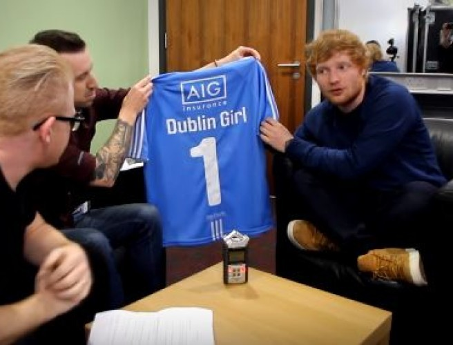 Ed Sheeran Is Auctioning A 98FM Gifted Dubs Jersey For Charity